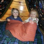 Toddlers in tent