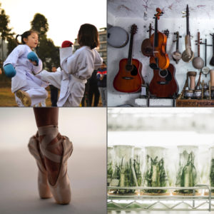 Collage of extracurricular activities: karate, guitars, ballet slippers, and beakers